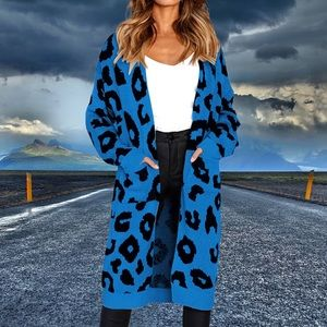 Sweaters - 👀💙🌹GORGEOUS BLUE LEOPARD 🐆 PRINT CARDIGAN! 🌹